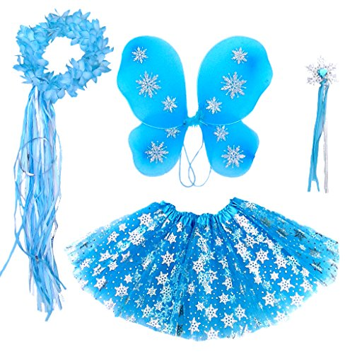 Frozen Inspired Girls Fairy Costume (Age 2-7) 4 Piece Set -