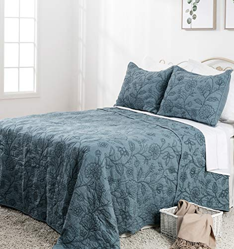 Elegant Life Reversible Cotton Vintage Embroidered Bedding Quilt - Queen Size 90'' x 95'', Park Blue