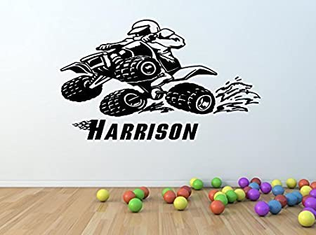 Boys kids personalised quad bike atv vinyl wall art sticker any name