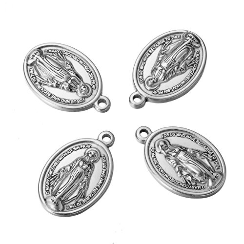 (Shengyaju 5PCS Dull Silver Tone Stainless Steel Religious The Virgin Mary Oval Charms Pendant Jewelry Making Findings 26mmx17mm)