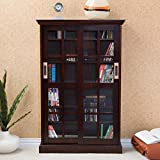 Stylish Sliding Door Media Cabinet, Spacious and Versatile Interior, Fixed and Adjustable Shelves, Bookshelf, Rich Espresso Finish