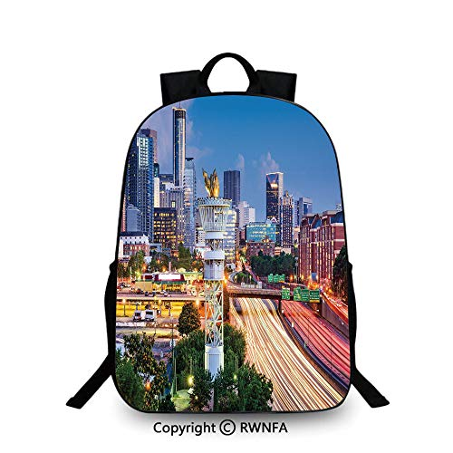 Lightweight Backpack-School Bag for Kid Girls Boys Colorful,Atlanta Georgia Urban Busy Town with Skyscrapers City Landscape Decorative School Backpacks For boys Light Blue Yellow Coral