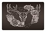 Lunarable Vintage Pet Mat for Food and Water, Deer Silhouette with Ornamental Flowers Animal Themed Design Bohemian, Rectangle Non-Slip Rubber Mat for Dogs and Cats, Dark Taupe and Beige