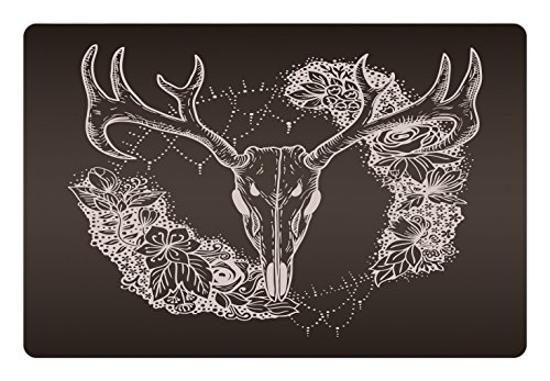 Lunarable Vintage Pet Mat for Food and Water, Deer Silhouette with Ornamental Flowers Animal Themed Design Bohemian, Rectangle Non-Slip Rubber Mat for Dogs and Cats, Dark Taupe and Beige by Lunarable (Image #2)