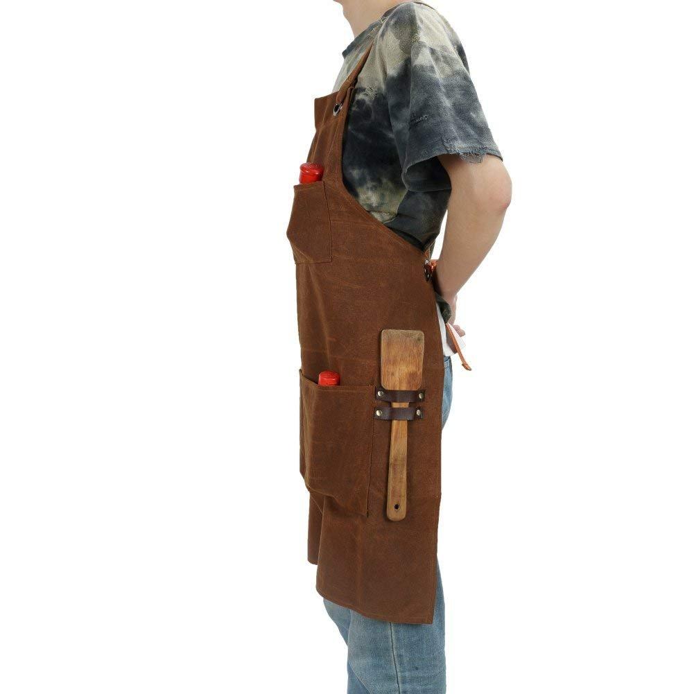 HANSHI Delantal de soldar, resistente, 3 bolsillos, lona encerada, para taller, Cross-Back ajustable (X-Back) correas herramienta delantal para Unisex ...