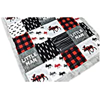 """Buffalo Plaid Moose, Minky Baby Blanket""""Little Man,"""" in Red & Black (3 Sizes, Personalize with embroidery on back)"""