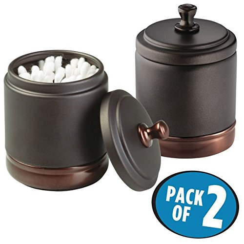 mDesign Bathroom Vanity Storage Organizer Canister Jars for Q tips, Cotton Swabs, Cotton Rounds, Cotton Balls, Makeup Sponges, Bath Salts - Pack of 2, Split Tone Bronze