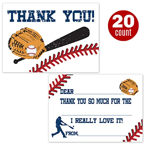 Baseball Fill in The Blank Thank You Cards for Boys (20 Count with Envelopes) - Baseball Party Supplies - Kids Sports Birthday Thank You Notes