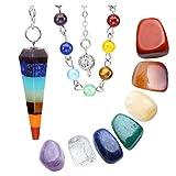 JOVIVI Chakra Crystal Healing Pendulum Kit / Includes 1 Chakra Pendulum and 7 Chakra Palm Stons / Healing Stone Dowsing Divination Set