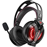 Combatwing Updated Gaming Headset for Game Boy Color Game, PS4, Xbox One, PC, Nintendo Switch [2019] [7.1 Surround Sound] [Noise-Cancelling Mic] Gaming Headphones with Memory Earmuffs & Red LED Light