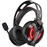 ONIKUMA Gaming Headset PS4 - Xbox One Headset with Microphone - 7.1 Stereo Surround Sound & LED Light - Over Ear Headphones with Noise-Conceling mic for PS4 - Xbox One(Adapter Needed) - PC - Mac - Laptop - NS