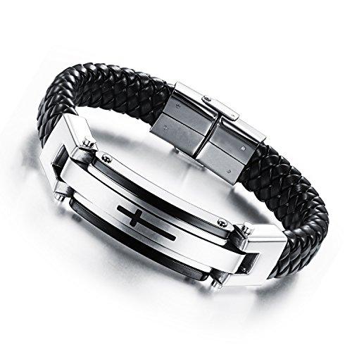 OPK Jewelry Fashion Solid Stainless Steel Cross Braide Leather Bangle Bracelet Men Jewelry,Silver