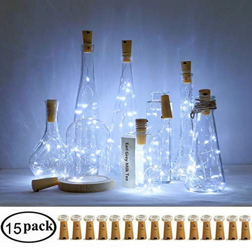 Decem Wine Bottle Cork Lights, 15 Pack 10 LED Cool White Cork Shape Silver Copper Wire LED Starry Fairy Mini String Lights for DIY/Decor/Party/Wedding/Christmas/Halloween (Cool -