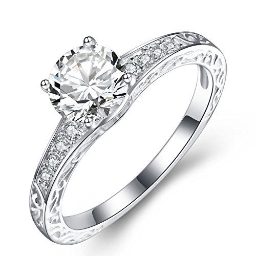 FORUISTON 925 Sterling Silver Round-Cut Solitaire AAA Cubic Zirconia Halo Wedding Engagement Ring, Size 5