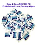 NEW 300 PC Pre-Moistened Lens and Glass Cleaning Towelette Wipes Portable Travel Cleaner for Glasses Camera and Cell Phone (BULK Pack of 300)