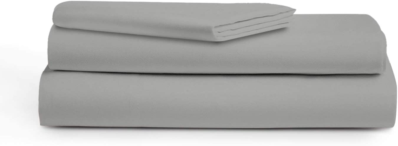 "AUDLEY HOME 500 Thread Count 100% Egyptian Cotton, 3 Piece Bedsheet Set, 18"" Deep Pockets, Smooth & Soft Sateen Weave, Hotel Quality (Silver, Twin)"