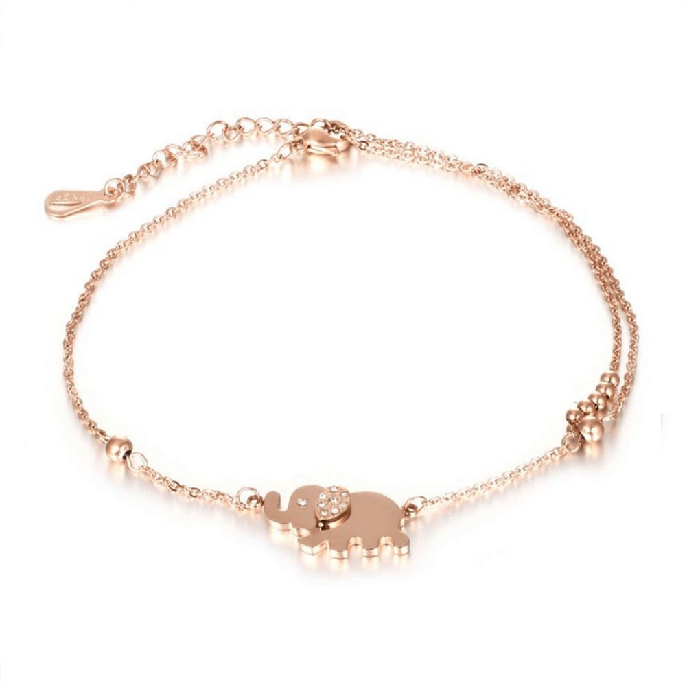 Mmiiss Double Chain Anklet Bracelet Foot Jewelry Elephant Charm Rose Gold Adjustable Chain Anklet
