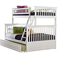 Columbia Bunk Bed with Trundle Bed, Twin Over Full, White