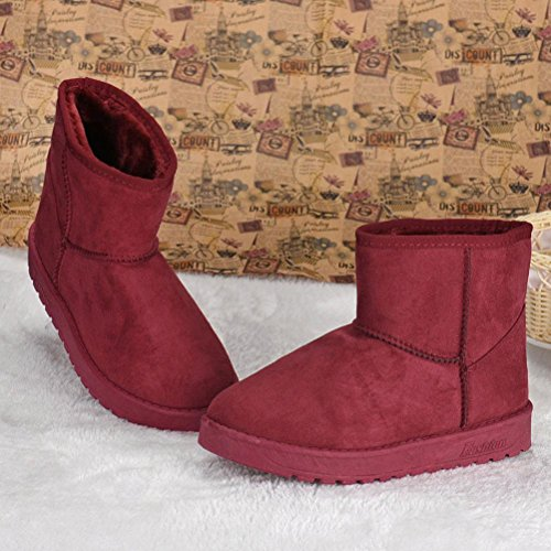 Women's Winter Red Ankle Snow Autumn Winter Fur Boots Warm Shoes Egmy Lined Boots Boots 10qda1FwS