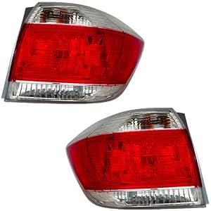 2011 2012 2013 Toyota Highlander (Excluding Hybrid Models) Taillight  Taillamp Rear Brake Tail Light Lamp Set Pair Right Passenger AND Left  Driver Side (11 ...