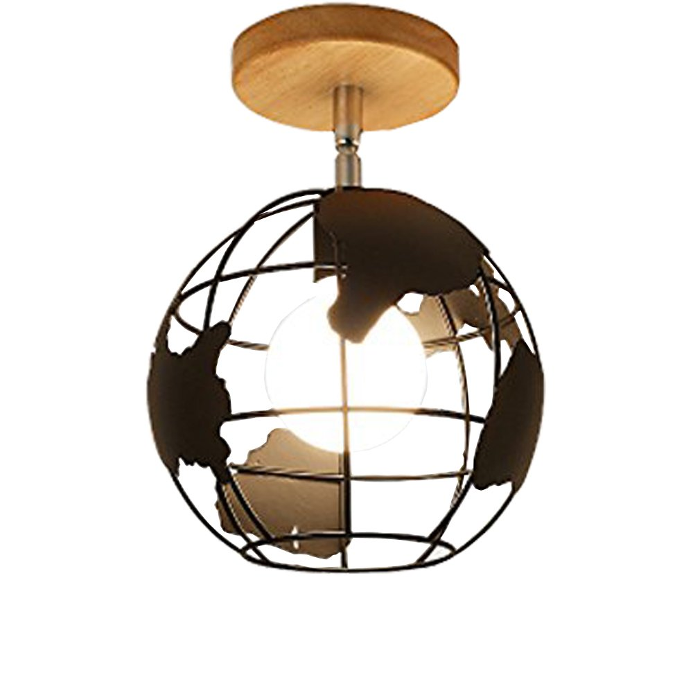 JINGUO Lighting Industrial Flushmount Ceiling Light 8''W Pendant Lights Hanging Lamp with Globe Metal Cage Kitchen Warehourse Bedroom Barn Cafe Restaurant in Black Finish