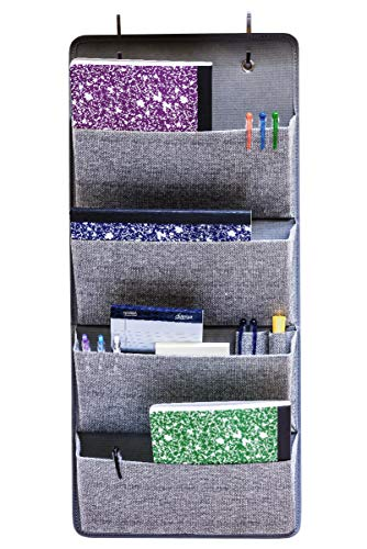 (Elegant Wonders 4 Pocket Fabric Wall Organizer for House, Closet Storage and Office with Wall Mount Or for Hanging Over The Door Or Cubicle. WallPockets Accessory by EW. [Gray])