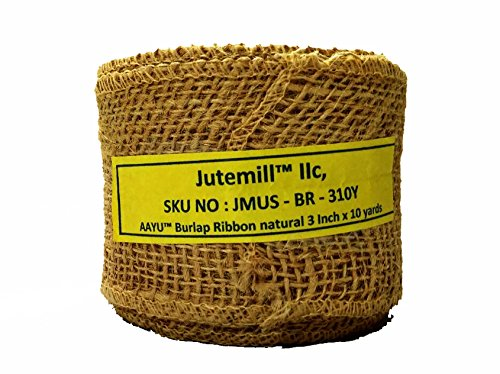 AAYU Brand Premium Burlap Ribbon 3 inch | Burlap Ribbon Roll 10 yard | 7oz Fabric | 100% Natural Burlap Mesh Ribbon, Burlap Wreath Ribbon, Wreath Making Burlap | Eco-Friendly, Natural, Organic (Eco Friendly Ribbon)