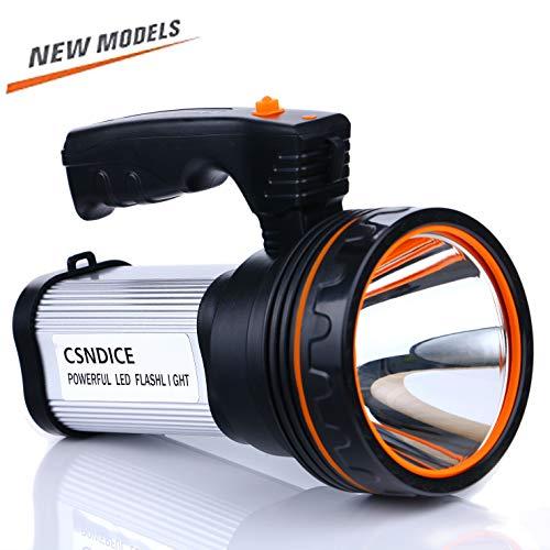 Super Beam Bright (ROMER LED Rechargeable Handheld Searchlight High-power Super Bright 9000 MA 6000 LUMENS CREE Tactical Spotlight Torch Lantern Flashlight (Silver))