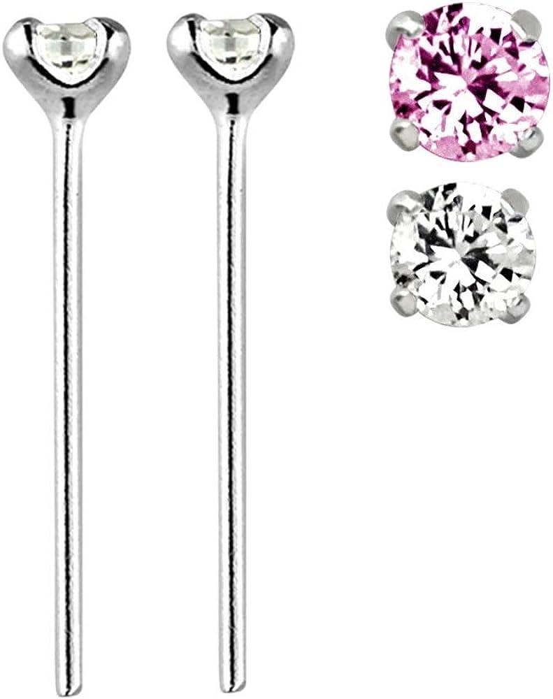 Nose Piercing Stud Bar Ring Bendable Sterling Silver .925 Gem Top