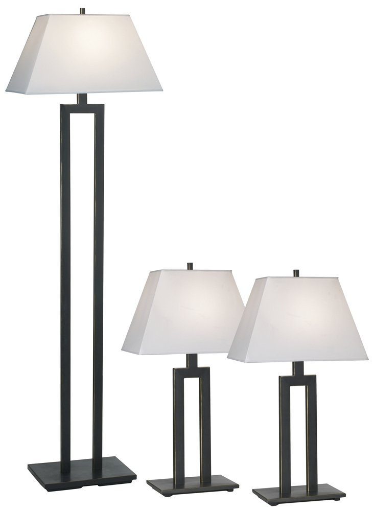 Contemporary Trio Table and Floor Lamp Set