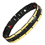 ONE ION Black Gold Stainless Steel 4-in-1 Power Bracelet - Free Gift Box and Link Remover
