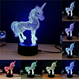 Shopping Box 3D Night Light Touch Table Lamp, 7 Color 3D Phantom Atmosphere Light, With Acrylic Base And USB Decorative Intelligent LED Lights (Unicorn)