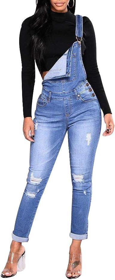 Mujer Mono Skinny Jeans Petos de Pantalones Morbuy Casual Largo Bolsillos Elegante Azul Oscuro Jumpsuits Moda Playa Fiesta Noche C/óctel Slim Fit Overoles Denim Pantal/ón