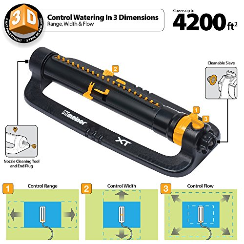 Melnor XT Turbo Oscillating Sprinkler with TwinTouch Width Control & Flow Control, waters up to 4,200 sq.ft.