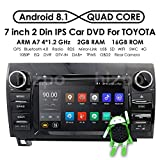 2008 toyota stereo - 7 Inch Android 8.1 Touch Screen Car Stereo DVD Player in Dash GPS Navigation for 2007-2013 Toyota Tundra/ 2008-2013 Toyota Sequoia Support Bluetooth/WiFi Hotspots/4G/OBD2/DVR/AV-IN