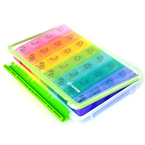 AUVON iMedassist Weekly AM/PM Pill Box, Portable Travel Pill Organizer (7-Day / 4-Times-A-Day) with Moisture-Proof Design and Large Compartments to Hold Vitamins, Supplements and Medication