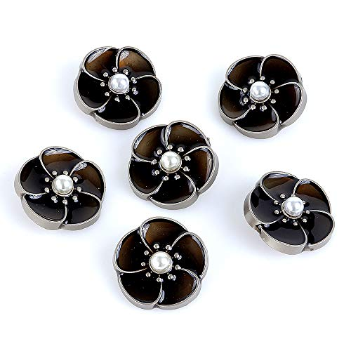 (XinRui 6 Pcs Premium Silver Tone Metal Buttons in Dark Brown Dropping Glue with Pearl for Suits Jackets and Jeans.)