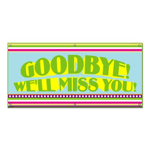 Goodbye We'll Miss You Colorful Stripes - Retirement Party 4'x2' Banner