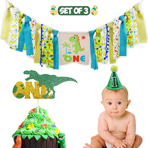 Dinosaur Theme 1st Birthday Decorations Kit Set of 3- One Burlap High Chair Banner- Baby Dino Cake Smash Party Supplies- Glitter Green Felt 1st Birthday Hat- T-Rex Cake Topper