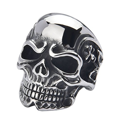 Tacori Baguette Ring - Aooaz Men Ring Vintage Skull Thumb Ring Silver Punk Ring US Size 12 Stainless Steel Ring