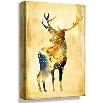 B2T Gold Elk Deer Oil Painting - 24x36 inches