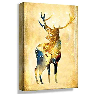Gold Elk Oil Painting Style - Canvas Art