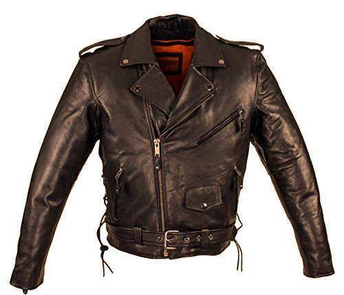 CD D C Mens Classic Motorcycle Biker Naked Cowhide Leather Jacket Black (Black Notched Leather Buckle Belt)