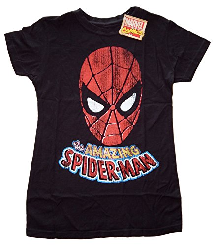 Marvel Comics The Amazing Spiderman Foil Junior's Black T-shirt S
