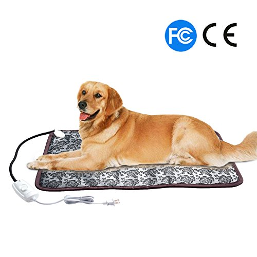 Pet Heating Pad Cat Heating Mat Waterproof Pets Heated Bed Adjustable Dog Bed Warmer Electric Heating Mat With Chew Resistant Steel Cord (29.7x17.7