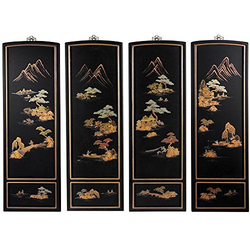 Oriental Furniture Japanese Landscape Wall Plaques