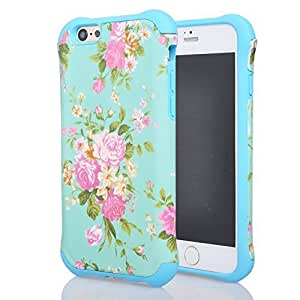 Case For Iphone 6 Plus (5.5 Inch) Cover Case, Case For Iphone 6 Plus (5.5 Inch) Cover New Case with Rose Flowr Pettern, Magicsky 2 in 1 Slim Fit Dual Layer Shockproof Protector Case For Iphone 6 Plus (5.5 Inch) Cover (2014 version), 1 Pack(Sky BLUE)