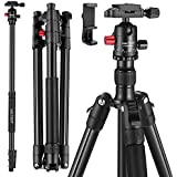"MACTREM Professional Camera Tripod with Phone Mount, 62"" DSLR Tripod for Travel, Super Lightweight and Reliable Stability, Ball Head Tripod Detachable Monopod with Carry Bag (Black)"