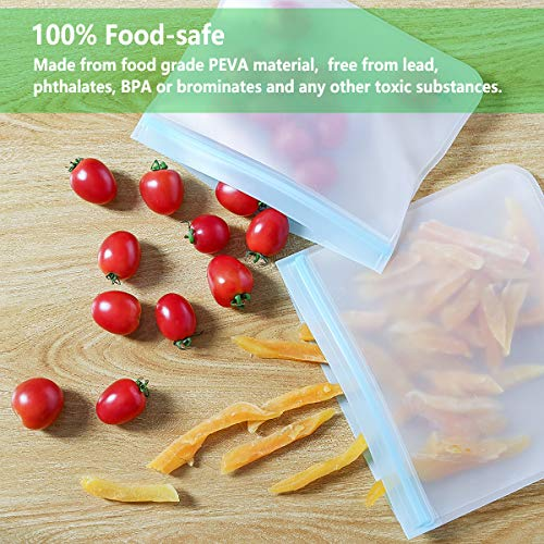 Wattne [10 Pack] Reusable Sandwich & Snacks Bags, Reusable Ziploc Storage Bags Freezer Safe, Extra Thick PEVA Material BPA/Plastic Free Bags for Lunch, Snacks, Toiletries, Make-up,Blue