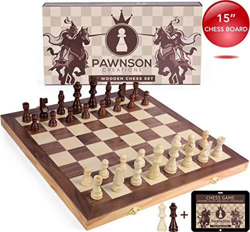 Natural Wood Chess - Wooden Chess Set for Kids and Adults - 15 Staunton Chess Set - Large Folding Chess Board Game Sets - Storage for Pieces | Wood Pawns - Unique E-Book for Beginner - 2 Extra Queens